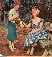 Sabrina and mum have billy tea at Healesville in 1959